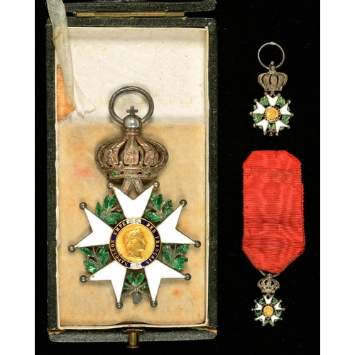 301 - <p>FRANCE. LEGION D'HONNEUR, 1852-1870 AND TWO MINIATURES, IN CONTEMPORARY 19TH C CASE OF LEMOINE FI...