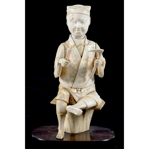 305 - <p>A JAPANESE IVORY OKIMONO OF A SEATED MAN, WOOD BASE, 16CM H, MEIJI PERIOD </p>...