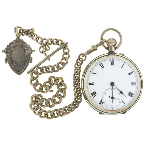 31 - <p>AN ENGINE TURNED SILVER WATCH, IMPORT MARKED LONDON, AND SILVER ALBERT AND FOB SHIELD, 124G</p>...