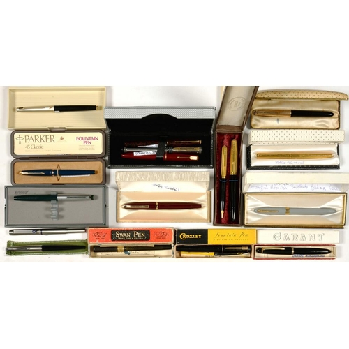 314 - <p>A COLLECTION OF VINTAGE SHEAFFER, CROXLEY, MABIE, TODD & CO AND OTHER FOUNTAIN PENS, BOXED  </p>...