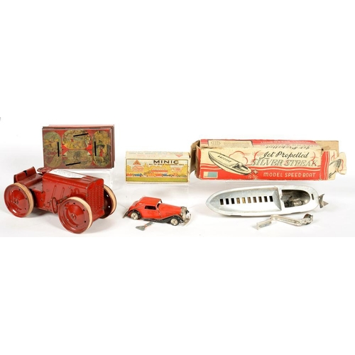 316 - <p>A MINIC CLOCKWORK TINPLATE VAUXHALL TOWN COUPE, BOXED, AN ENGLISH ALUMINIUM SILVER STREAK MODEL S...