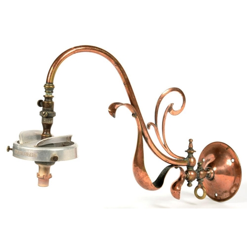 320 - <p>AN ARTS AND CRAFTS OXIDISED BRASS GAS WALL LIGHT IN THE MANNER OF W. A. S. BENSON, 31CM PROJECTIO...