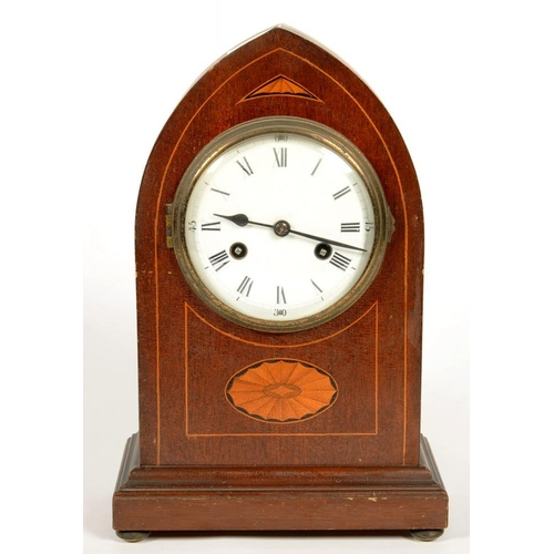 328 - <p>AN INLAID MAHOGANY LANCET ARCHED MANTEL CLOCK WITH ENAMEL DIAL AND GERMAN GONG STRIKING MOVEMENT,...
