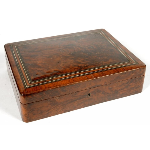 330 - <p>A 19TH C FRENCH THUYA WOOD AND LINE INLAID JEWEL BOX WITH BUTTONED PINK PLUSH INTERIOR, 31CM L, C...