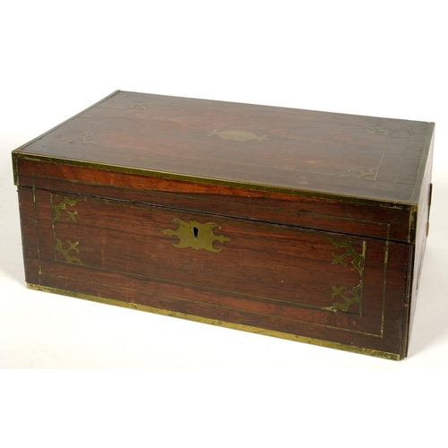 332 - <p>A MID VICTORIAN BRASS INLAID ROSEWOOD WRITING BOX WITH FITTED INTERIOR, INCLUDING A PAIR OF CUT G...