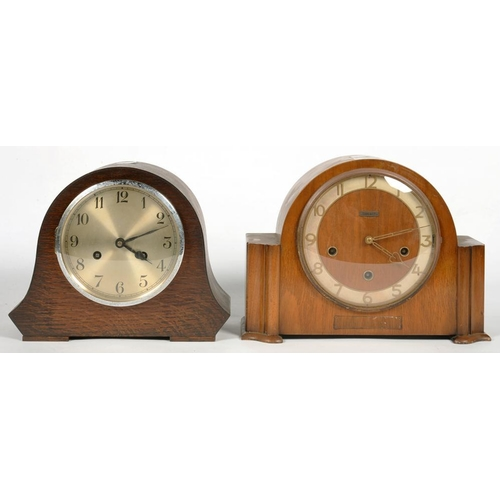 334 - <p>A WALNUT MANTEL CLOCK SUPPLIED BY COPE & CO NOTTINGHAM, WITH CHIMING MOVEMENT, 33CM H AND A CONTE...