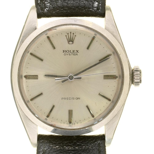 33A - <p>A ROLEX  STAINLESS STEEL OYSTER PRECISION GENTLEMAN'S WRISTWATCH, DIAL 35 MM DIAM, ON  ROLEX BLAC...