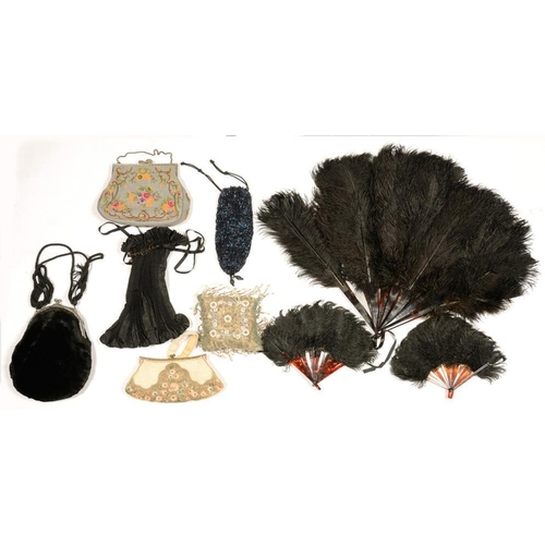 340 - <p>A COLLECTION OF OSTRICH FEATHER AND OTHER FANS, EMBROIDERED EVENING BAG, PIN CUSHION, ETC</p>...