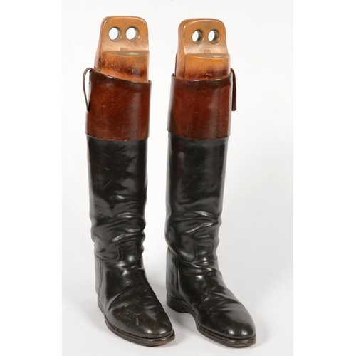 341 - <p>A PAIR OF LEATHER RIDING BOOTS, WITH LASTS, 49CM H</p>...