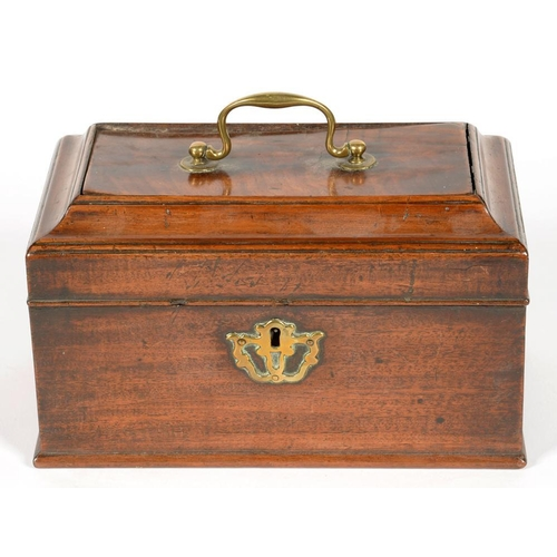 343 - <p>AN EARLY VICTORIAN BRASS MOUNTED MAHOGANY TEA CADDY, 23CM W, A VICTORIAN BRASS MOUNTED WALNUT JEW...