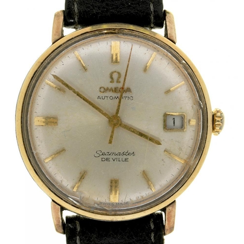 35 - <p>AN OMEGA GOLD PLATED AND STAINLESS STEEL SELF-WINDING SEAMASTER DE VILLE WRISTWATCH,  LEATHER STR...