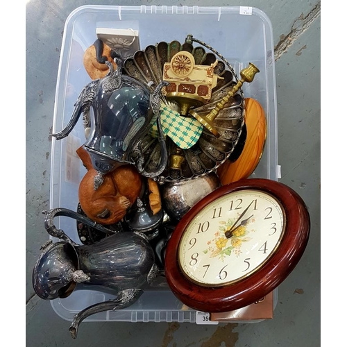 356 - <p>MISCELLANEOUS PLATED WARE, A PAIR OF BRASS CANDLESTICKS AND MANTEL CLOCKS, ETC</p>...