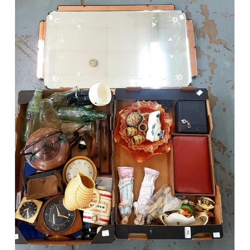 358 - <p>MISCELLANEOUS BYGONES, INCLUDING A COPPER KETTLE, CARNIVAL GLASS, CONTINENTAL BISCUIT PORCELAIN F...