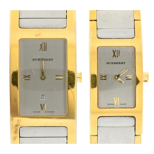 36 - <p>A BURBERRY GOLD PLATED AND STAINLESS STEEL GENTLEMAN'S WRISTWATCH, RECTANGULAR DIAL 18 X 28 MM, S...