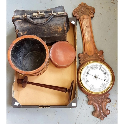 364 - <p>A CARVED OAK ANEROID BAROMETER, A BRASS BOUND MAHOGANY JARDINIERE, BAKELITE CANDLESTICK, ETC</p>...