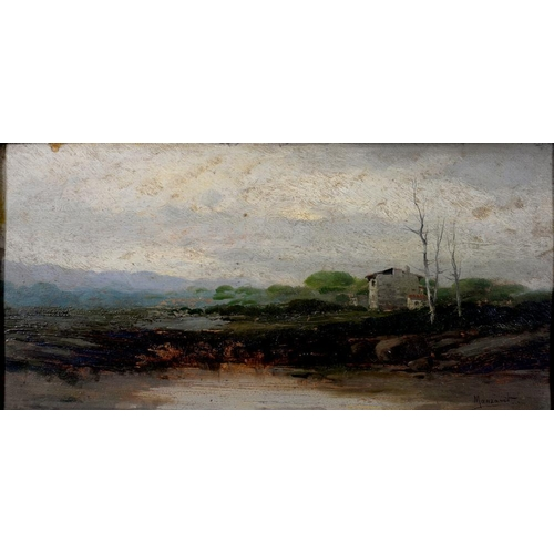 365 - <p>RICARDO MANZANET, LANDSCAPE, SIGNED, OIL ON BOARD, 24 X 48CM AND MISCELLANEOUS CERAMICS AND GLASS...