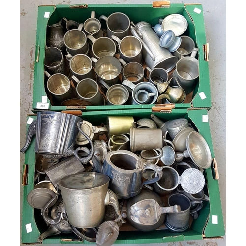 380 - <p>A QUANTITY OF PEWTER TANKARDS AND MISCELLANEOUS OTHER METALWARE, ETC, VICTORIAN AND LATER </p>...