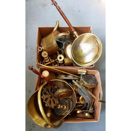 396 - <p>MISCELLANEOUS METALWARE, INCLUDING BRASS WATERING CAN, COAL SCUTTLE, CANDLESTICKS, ETC</p>...