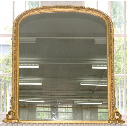 398 - <p>A LATE VICTORIAN GILTWOOD AND COMPOSITION OVERMANTLE MIRROR, 132 X 132CM </p>...