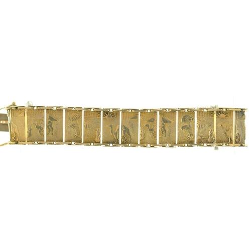 4 - <p>A 9CT GOLD PANEL BRACELET, BIRMINGHAM 1963, MAKERS MARK S&P, 20G</p><p>�</p>...