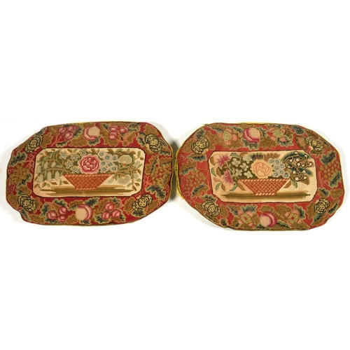 400 - <p>A PAIR OF EARLY VICTORIAN NEEDLEWORK CUSHIONS, 40 X 26CM </p>...
