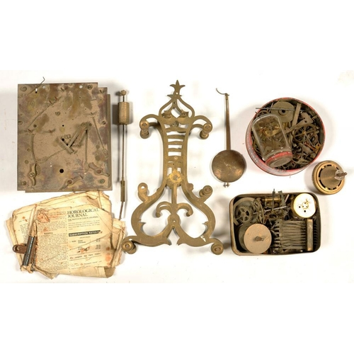 403 - <p>MISCELLANEOUS BRASS SKELETON CLOCK PARTS, LONGCASE AND OTHER CLOCK MOVEMENTS AND PARTS, VICTORIAN...