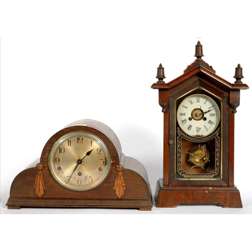 405 - <p>AN OAK MANTLE CLOCK, 38CM W, C1930 AND ANOTHER </p>...