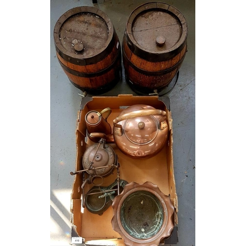 410 - <p>A PAIR OF IRON MOUNTED OAK BARRELS AND MISCELLANEOUS COPPER AND OTHER METALWARE, VICTORIAN AND LA...