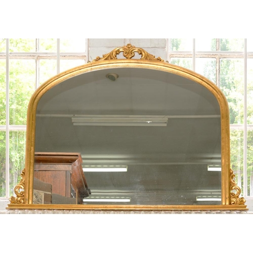 418 - <p>A VICTORIAN STYLE GILTWOOD AND COMPOSITION OVERMANTLE MIRROR, 105 X 139CM </p>...