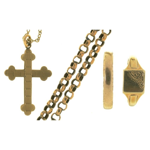 42 - <p>TWO 9CT GOLD RINGS, A GOLD CHAIN MARKED 9C AND A 9CT GOLD PENDANT CROSS ON CHAIN, 9G</p><p></p>...