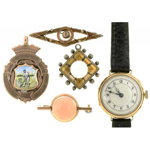 56 - <p>A 9CT GOLD AND ENAMEL CRICKET MEDALLION, BIRMINGHAM 1919, A 9CT GOLD LADY'S WRISTWATCH, LONDON 19...