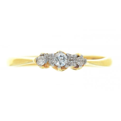 7 - <p>A THREE STONE DIAMOND RING, IN GOLD MARKED 18CT & PLAT, SIZE M, 2G</p><p></p>...