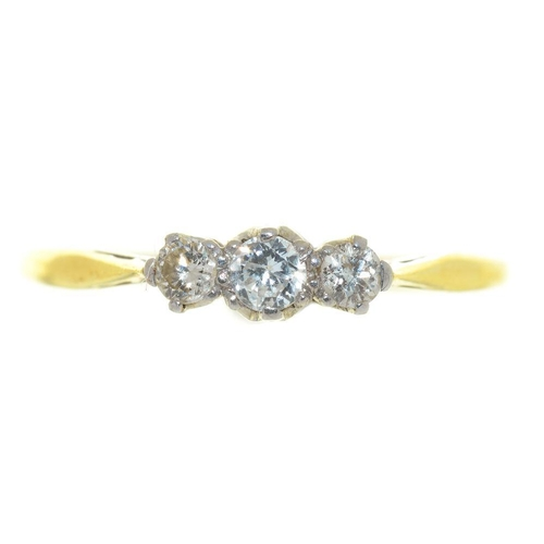 8 - <p>A THREE STONE DIAMOND RING, IN GOLD MARKED 18CT PLAT, SIZE Q, 1.5G</p><p></p>...