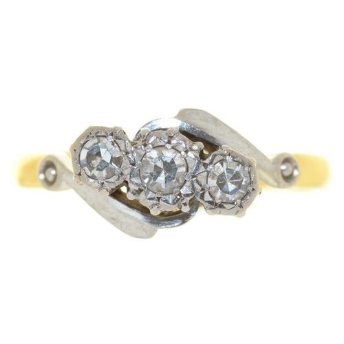 9 - <p>A THREE STONE DIAMOND RING, THE SINGLE CUT DIAMONDS IN GOLD MARKED 18CT & PLAT, SIZE P, 2.5G</p><...