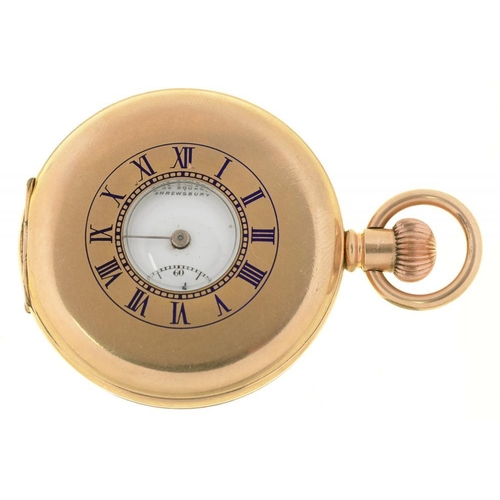 1 - <p>A ROBINSON & CO LTD GOLD PLATED HALF HUNTING CASED LEVER WATCH, INTERIOR INSCRIBED 'STAR' AND NUM...