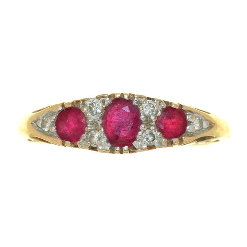15 - <p>A RUBY AND DIAMOND RING IN 9CT GOLD, CONVENTION MARKED, INSCRIBED '0.10CT', 3G, SIZE S�</p><p></p...