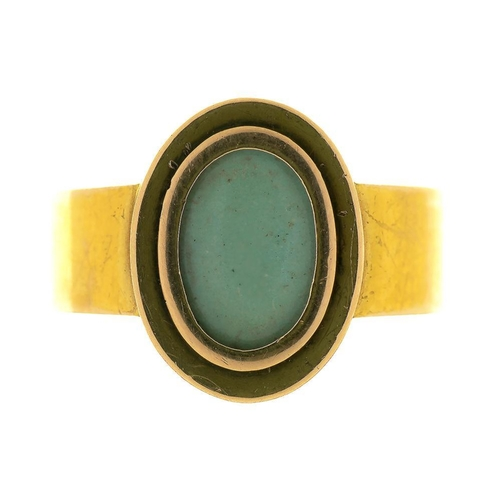 24 - <p>A CLOSED BACK GEM SET CABOCHON RING, IN 15CT GOLD, BIRMINGHAM 1896, INSCRIBED WITHIN 'MY MOTHER O...