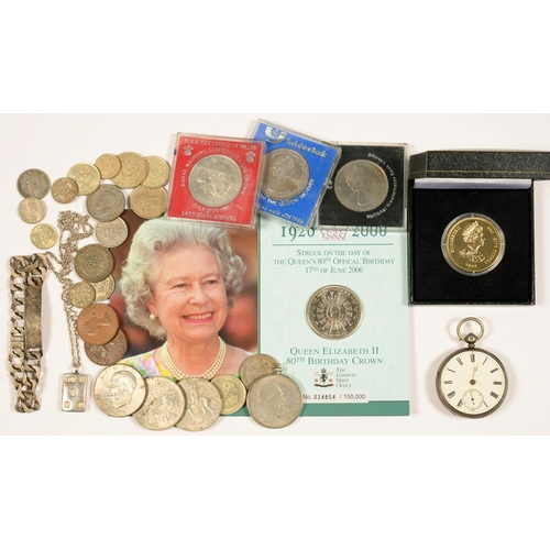 327 - <p>A VICTORIAN SILVER WATCH, A SILVER INGOT PENDANT AND MISCELLANEOUS COMMEMORATIVE AND OTHER COINS<...