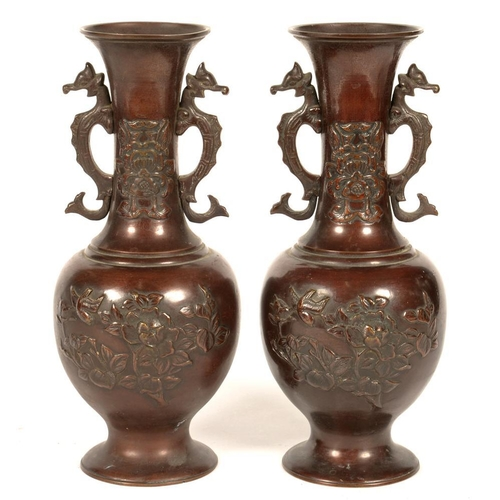 347 - <p>A PAIR OF JAPANESE BRONZE VASES WITH DRAGON HANDLES, EARLY 20TH C, 32CM H</p>...