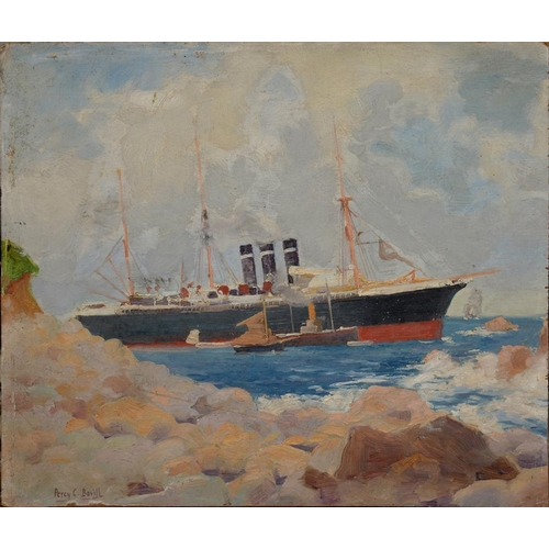 348 - <p>PERCY C. BOVILL, LINER AT SEA, SIGNED, OIL ON BOARD, UNFRAMED, 25 X 29CM </p>...