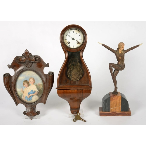 349 - <p>AN ART DECO STYLE FIGURE OF A FEMALE DANCER ON SLATE BASE, 36CM H, A FRENCH ROSEWOOD WALL CLOCK W...