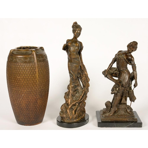 354 - <p>TWO BRONZED STATUETTES OF LADIES AND A GOLD PAINTED STONEWARE VASE, 42CM H AND SMALLER </p>...
