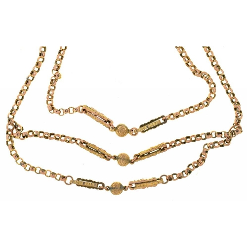 46 - <p>A VICTORIAN GOLD CHAIN, 42CM L, AND ANOTHER, 34 CM L, AND A LENGTH OF SIMILAR CHAIN, 15G</p><p></...