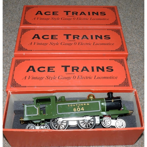 486 - <p>THREE ACE TRAINS 4-4-4 O-GAUGE ELECTRIC TANK LOCOMOTIVES, ALL BOXED </p>...