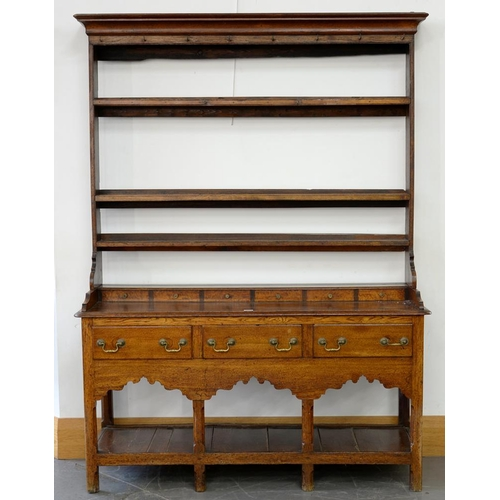 647 - <p>A GEORGE III OAK DRESSER AND RACK, 201CM H; 148 X 4CM </p>...