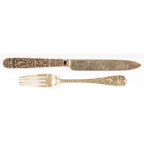 129 - <p>A VICTORIAN SILVER KNIFE AND FORK, LONDON 1896 AND 1897, 3OZS 11DWTS</p><p></p>...