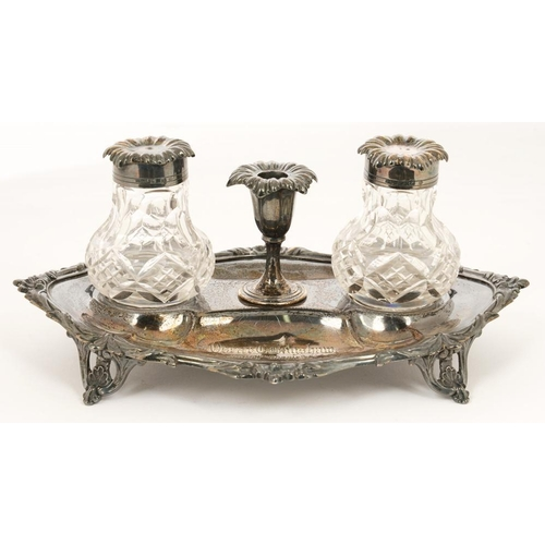 145 - <p>A VICTORIAN SILVER AND GLASS INK STAND, 21.5 CM W, SHEFFIELD 1878, 9OZS 7DWTS WEIGHABLE</p><p></p...