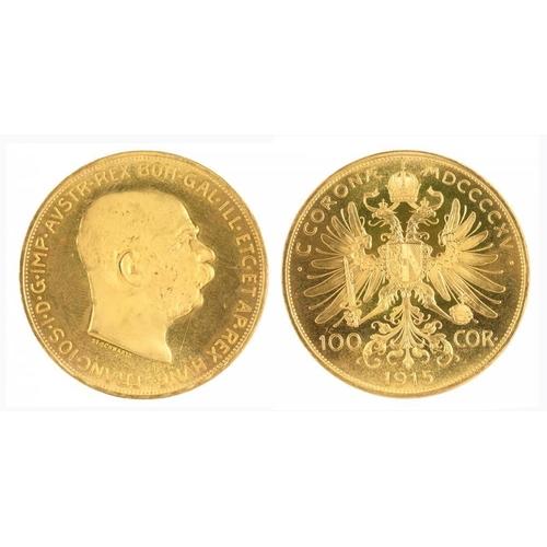 14B - <p>GOLD COIN.  AUSTRIA 100 CORONA 1915, RESTRIKE</p>...