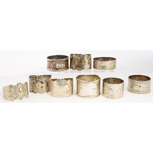 153 - <p>SEVEN AND A PAIR OF SILVER NAPKIN RINGS, EDWARD VII AND LATER, 7OZS 10DWTS (9)</p>...
