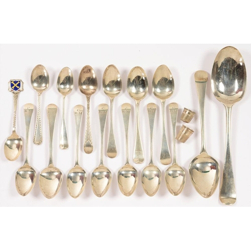 155 - <p>MISCELLANEOUS SILVER FLATWARE AND THIMBLES, GEORGE III AND LATER, 9OZS 9DWTS (18)</p><p></p>...